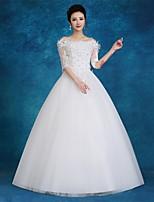 볼 드레스 웨딩 드레스 바닥 길이 오프 더 숄더 새틴 / 튤 와 꽃장식 / 레이스