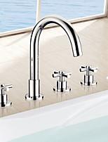 Bathtub Faucet - Contemporary - Sidespray / Handshower Included - Brass (Chrome)