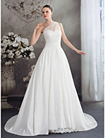 A-line Wedding Dress-Court Train One Shoulder Chiffon