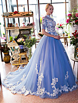 Formal Evening Dress-Sky Blue Ball Gown Halter Chapel Train Lace / Tulle