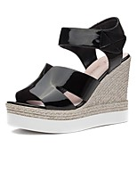 Women's Shoes Synthetic Platform Peep Toe/Creepers Sandals Office & Career / Party & Evening/Dress/Casual Black/Silver