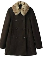 Women's Solid Black Pea Coats,Plus Size Long Sleeve Polyester