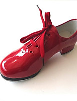 Non Customizable Kids' Dance Shoes Tap Leatherette Low Heel Black / Red / White