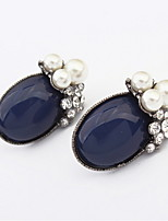 Fashion Women Jewelry Oval Ear Studs White Pink Blue Rhinestone Earrings With Round Simulated Pearl