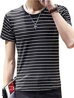 Summer Men's Round Neck Short Sleeve Cotton Striped Casual T-Shirt Tops