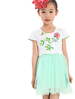 Girl's Green / Pink / White Dress Cotton / Polyester Summer