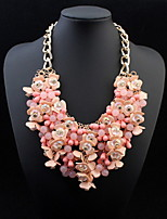 Women Fashion Luxury Statement Colorful Flower Statament Necklace Gem Clain Luxury Drops Brand Necklace