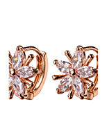 Flower Shape AAA Zircon 18k Gold/Silver Hoop Stud Earrings