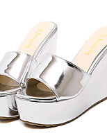 Women's Shoes Leatherette Summer Heels Outdoor / Casual Wedge Heel Silver / Gold