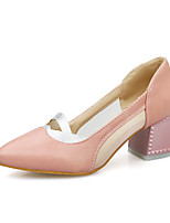 Women's Shoes Chunky Heel Basic Pump / Pointed Toe Heels Dress / Casual Black / Pink / White