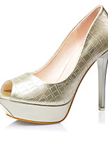 Women's Shoes PU Stiletto Heel Heels / Peep Toe Heels Casual Black / White / Silver / Gold