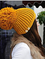Korean Version Of The Super Ball Knitted Decorative Buttons Cannabis Warm Hat