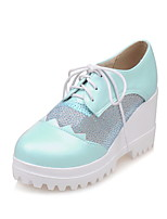 Women's Shoes PU Wedge Heel Wedges / Creepers / Comfort / Round Toe Heels Outdoor / Office & Career / Dress Blue / Pink