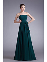 Formal Evening Dress A-line Strapless Floor-length Chiffon