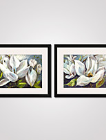 Framed White Flowers Modern Canvas Print Art Set of 2 for Home Decoration Ready To Hang