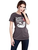 Haoduoyi Women's Round Neck Short Sleeve T Shirt Gray-15113F389