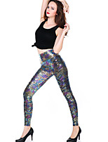Women Solid Color / PU Legging,PU / Spandex Medium