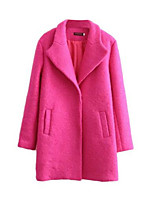 Women's Solid Pink Pea Coats,Simple Long Sleeve Nylon
