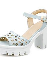 Chaussures Femme-Décontracté-Bleu / Blanc-Talon Plat-Tongs-Mocassins-Synthétique / Similicuir