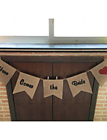 Rustic Wedding Sign Here Comes The Bride Flower Girl Boy Burlap Banner Party Supplies with Rope