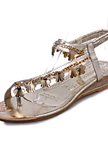 Women's Shoes PU Low Heel Open Toe Sandals Outdoor / Dress / Casual Silver / Gold