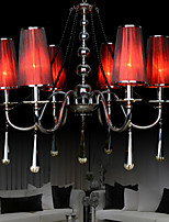 220V Max 40W Traditional/Classic Crystal Chandelier/ Electroplated Metal/ Living Room / Bedroom / Red Lampshade