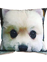 3D Design Pint White Dog Decorative Throw Pillow Case Cushion Cover for Sofa Home Decor Polyester Soft Material