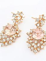 2016 New Korean Fashion Luxury Hollow Shiny Pink White Rhinestone Irregular Pierced Drop Earrings