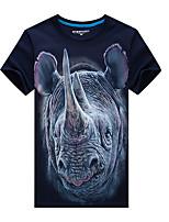 Tee-Shirt Pour des hommes A Motifs Décontracté / Sport Manches Courtes Coton / Acrylique Noir / Bleu