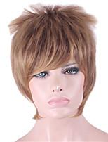 las mujeres recta corta peluca de pelo sintético de color marrón oscuro