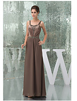 Formal Evening Dress-Brown A-line Straps Floor-length Charmeuse