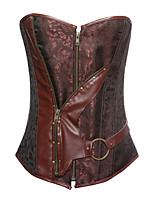 Women S-6XL Steampunk Cincher Waist Bustier Patent Leather Corset ,Lingerie Shaper Plus Size with G-String Brown