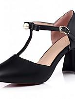 Zapatos de mujer-Tacón Robusto-Tacones-Tacones-Boda / Oficina y Trabajo / Fiesta y Noche-Semicuero-Negro / Rosa / Almendra