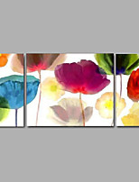 peinture à l'huile à la main moderne ensemble de 3 maison art mural décor toile avec cadre étiré de fleurs