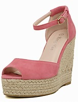 Women's Shoes Wedge Heel Peep Toe Platform D'Orsay & Two-Piece Sandals Black/Pink