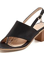 Chaussures Femme-Habillé / Décontracté / Soirée & Evénement-Noir / Rose / Blanc-Gros Talon-Bride Orteil / Bout Ouvert-Sandales-Similicuir
