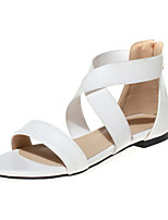Women's Shoes Leatherette Spring / Summer / Fall Comfort Outdoor / Dress / Casual / Party & Evening Flat Heel Black / White