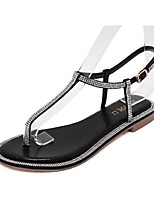 Women's Shoes Flat Heel T-Strap Sandals Casual Black / Silver