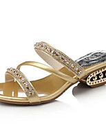Women's Shoes Leatherette Chunky Heel Open Toe Sandals Dress / Casual Black / Silver / Gold