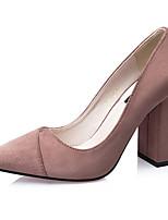 Calçados Femininos-Saltos-Saltos-Salto Grosso-Preto / Verde / Vermelho / Cinza / Khaki-Flanelado-Casual