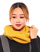 Unisex Two Around Neck  Winter Jacket Wool  knitted scarf Pure Color Large Scarf