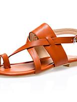 Zapatos de mujer-Tacón Plano-Comfort / Anillo Frontal-Sandalias-Vestido / Casual-Semicuero-Negro / Marrón / Plata