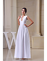 Formal Evening Dress-White A-line V-neck Floor-length Satin