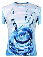 Men's Print Casual T-Shirt,Cotton Short Sleeve-Blue