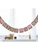 Vintage Kraft Paper FROM MISS TO MRS Bridal Shower Banner Bunting Garlands with Pink Ribbon