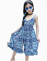 Girl's Blue / Yellow Overall & Jumpsuit Cotton Summer
