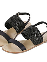 Women's Shoes Leatherette Summer Comfort Outdoor / Casual Flat Heel Buckle Black / Silver
