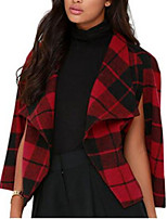 Women's Houndstooth Red Coat,Simple Sleeveless Nylon