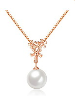 Real Silver Gold Plated Plum Blossom Flower Link Chain Round Simulated Pearl Pendant Necklace for Women