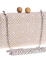 L.west Women Personality Geometric Pattern Woven Evening Bag